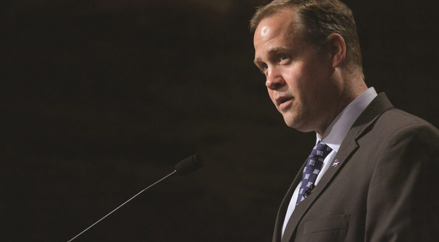 During an 'industry day' held May 8 at NASA Headquarters in Washington, NASA Administrator Jim Bridenstine asks commercial companies to help get the agency back to the moon as quickly as possible. Credit: NASA/Bill Ingalls
