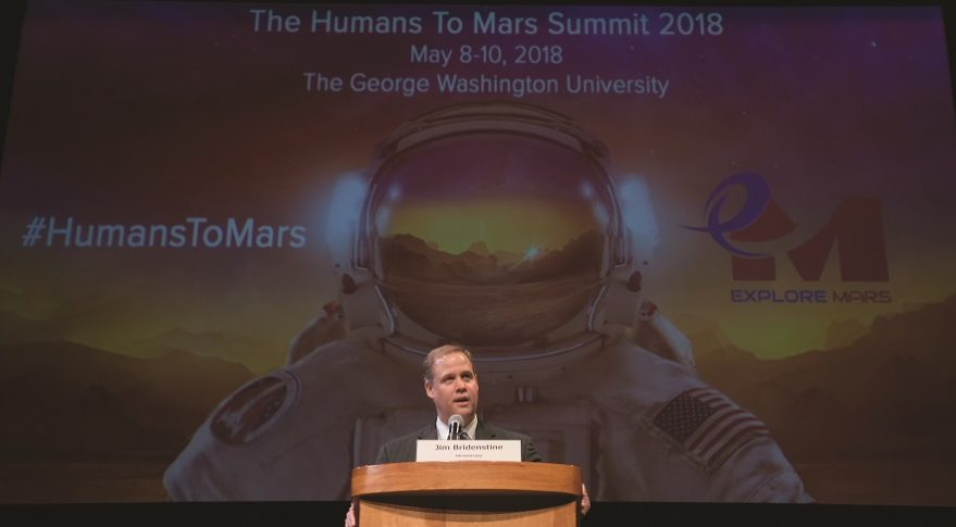 NASA Administrator Jim Bridenstine delivers the keynote speech at the Humans to Mars Summit May 9 at the George Washington University in Washington. Bridenstine joined more than 20 NASA scientists and technologists at the three-day event sponsored by Explore Mars Inc. Credit: NASA/Bill Ingalls