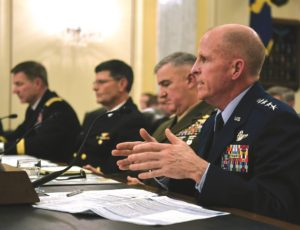 """[Project Maven] is not weaponizing. We are trying to take repetitive tasks that are routine, like processing of pictures, and automating them,"" said U.S. Air Force Vice Chief of Staff Gen. Stephen Wilson, shown above testifying before the Senate Armed Services Committee in February. Credit: Army Sgt. Amber I. Smith"