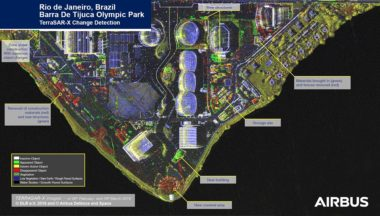 In February, the Spanish Paz satellite joined Airbus Defence and Space's SAR satellite constellation, reducing the constellation's revisit time from 11 days to between four and seven. This image shows changes over time at Barra de Tijuca Olympic Park in Rio de Janero, Brazil. Credit: Airbus