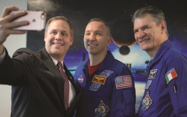 NASA Administrator Jim Bridenstine, left, takes a photo with NASA astronaut Randy Bresnik and ESA astronaut Paolo Nespoli, right, May 9 at NASA Headquarters. Credit: NASA/Bill Ingalls