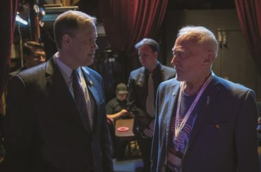 NASA Administrator Jim Bridenstine, left, speaks with Apollo 11 astronaut Buzz Aldrin backstage at the Humans to Mars Summit May 9 at the George Washington University. Credit: NASA/Bill Ingalls