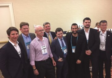 From left: ICEYE CEO Rafal Modrzewski, Derek Edinger, Ursa Space co-founder and vice president, Tom Ager, SAR consultant, Greg Buckman, Airbus Defense and Space Intelligence North America CEO, e-geos CEO Massimo Comparini, Payam Banazadeh, Capella Space CEO, Andreas Kern, Airbus WorldDEM Business head, Sunao Muraoka, Japan Space Imaging chief operating officer.
