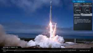 spacex launches five iridium satellites and twin science spacecraft