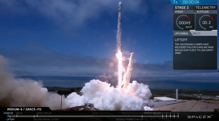 Falcon 9 lifts off with Iridium and GRACE-Follow On satellites