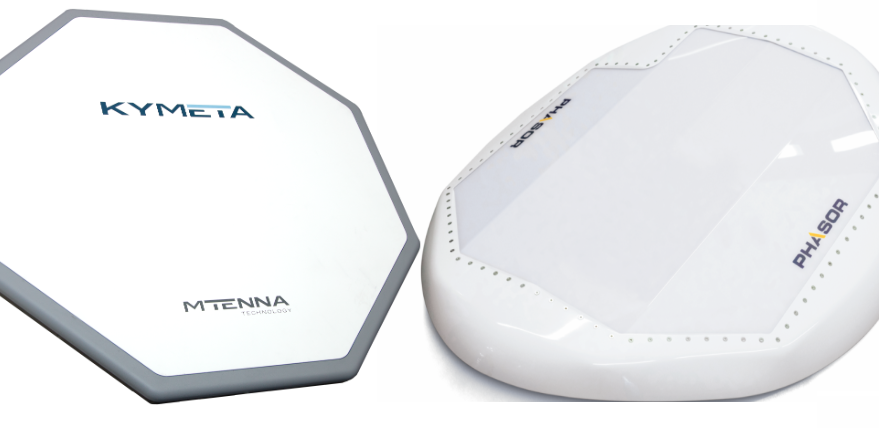 Flat panel antennas from Kymeta (left) and Phasor (right) promise to open new business opportunities for satellite communications companies, but widespread consumer broadband isn't one of them.