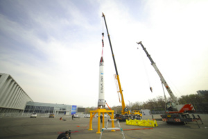 Chinese launch company OneSpace complete a vertical assembly rehearsal for the OS-X rocket on April 11, 2018. A test launch is slated for May 17. Credit: Image courtesy of OneSpace