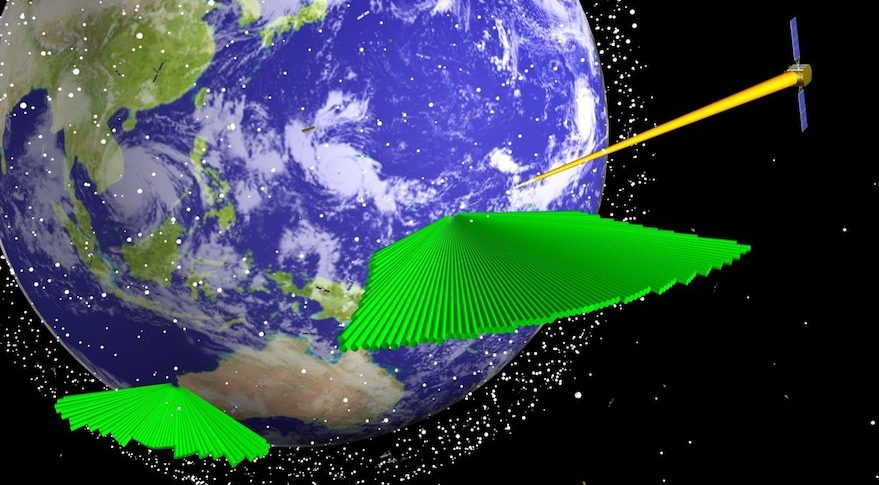 """Lockheed Martin is completing the Air Force Space Fence on Kwajalein Atoll. This image depicts coverage that would be provided and a second site in Western Australia. The S-band radars detects objects passing through the RF """"fence"""" and begins tracking them. Credit: Lockheed Martin Space Systems"""