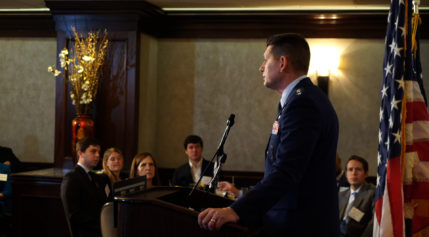 """Lt. Gen. David """"DT"""" Thompson, the new Pentagon-based vice commander of Air Force Space Command, made his first public appearance May 15 at a Washington Space Business Roundtable luncheon. Credit: SpaceNews"""