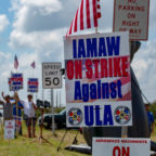ULA machinists demonstrate outside Cape Canaveral Air Force Station, Florida. Credit: Craig Vander Galien for SpaceNews