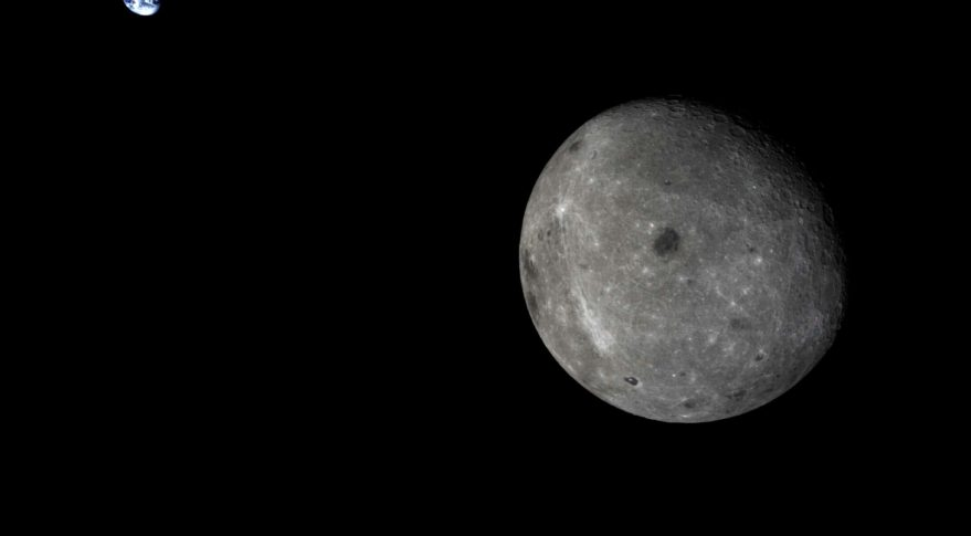 The far side of the Moon and distant Earth, imaged by the Chang'e-5 T1 mission service module in  2014 Credit: Chinese Academy of Sciences