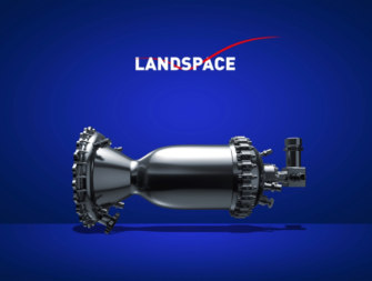 Photo illustration of Landscape rocket engine,