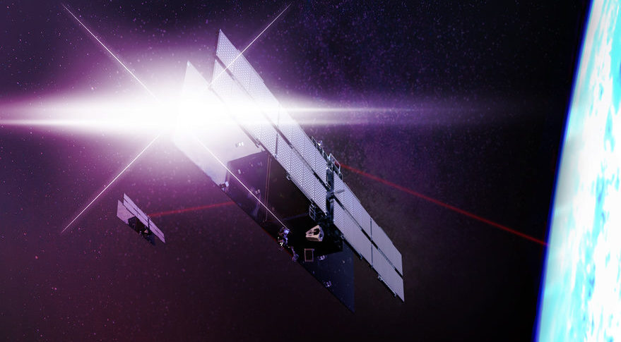 This is an artist's rendering of ICEYE-X2, a satellite ICEYE plans to launch on Space Exploration Technology's rideshare mission to Sun Synchronous Orbit. ICEYE's X2 antenna is twice the size of its antennas for X1, the first satellite the Finnish company launched in January. Credit: ICEYE