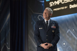 U.S. Air Force Lt. Gen. John Thompson, Commander of Space and Missile Systems Center, Air Force Space Command, speaks at the 2018 Rocky Mountain Cyberspace Symposium in Colorado Springs, Colorado, March 6, 2018.  Thompson shared his thoughts on ways to provide better cyber protection for space assets.  The symposium is a national forum for industry and government to collaborate to help meet challenges of cyber security, cyber readiness, and national defense.   (U.S. Air Force photo by Dave Grim)