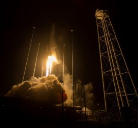 The Orbital ATK Antares rocket, with the Cygnus spacecraft onboard, launches from Pad-0A on May 21, 2018 at NASA's Wallops Flight Facility in Virginia. Credit: NASA