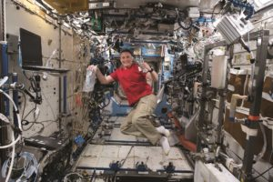 Expedition 56 Flight Engineer Serena Auñón-Chancellor of NASA in the Destiny laboratory module June 11 with gear for measuring and analyzing red blood cell function to help doctors understand how blood cell production is altered in microgravity. Credit: NASA Johnson via Flickr