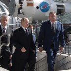 Russian President Vladimir Putin (center) and Roscosmos chief Dmitry Rogozin (right) tour the VDNKh exhibition center in Moscow in April. Credit: Kremlin.ru