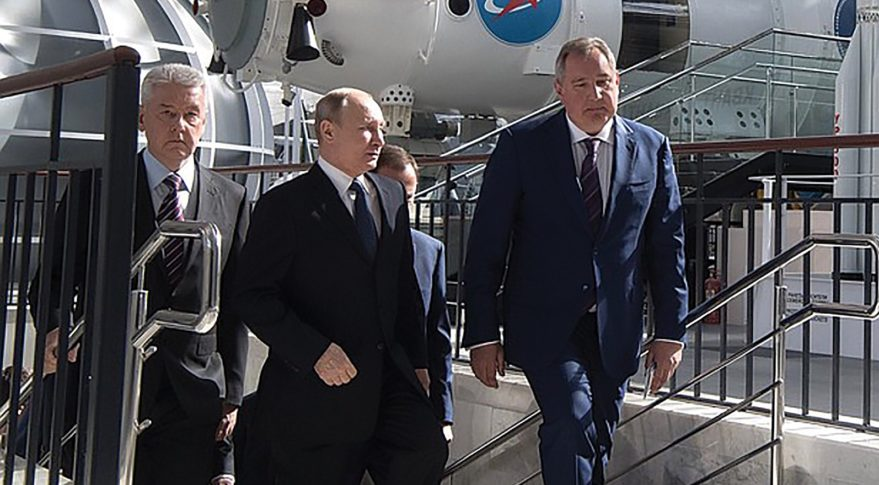 Russian President Vladimir Putin (center) and Roscosmos chief Dmitry Rogozin (right) tour the VDNKh exhibition center in Moscow in April. Credit: Kremlin.ru