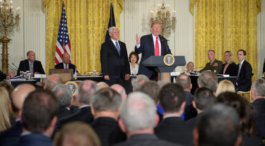"""""""We are going to have the Air Force, and we are going to have the Space Force. Separate but equal. It is going to be something,"""" President Donald Trump said during a June 18 meeting of the National Space Council. """"I'm hereby directing the department of Defense and the Pentagon to immediately begin the process necessary to establish a Space Force as the sixth branch of the armed forces. That's a big statement."""" Credit: NASA/Bill Ingalls"""