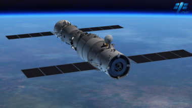 Render of the Tiangong-2 space lab (left) docked with a Shenzhou crewed spacecraft. Credit: CMSE