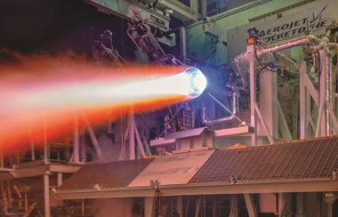 A 3D-printed thrust chamber assembly for the next generation of RL10 rocket engines undergoes hotfire testing at Aerojet Rocketdyne's facility in West Palm Beach, Florida. Credit: Aerojet Rocketdyne