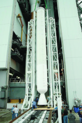An AJ-60A solid rocket booster used on the 2006 Atlas 5 launch of NASA's Pluto-bound New Horizons spacecraft. Credit: NASA Kennedy Space Center
