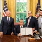 U.S. President Donald Trump holds the signed copy of Space Policy Directive 2 in the Oval Office May 24 along with Vice President Mike Pence, National Space Council Executive Secretary Scott Pace and Deputy Executive Secretary and Chief of Staff of the National Space Council Jared Stout. Credit: White House Official Photo