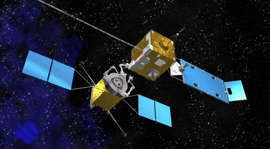 This NASA Goddard Space Flight Center illustration shows a servicing spacecraft, left, approaching a satellite needing assistance. Credit: NASA Goddard