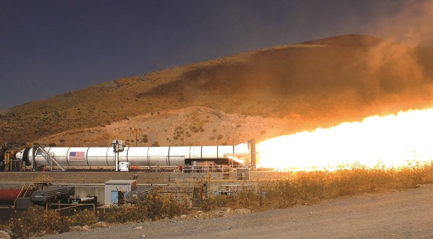 A five-segment solid rocket motor similar to those Northrop Grumman Innovation Systems will supply NASA for its Space Launch System undergoes a 2011 test in Utah. Credit: NASA/Orbital ATK