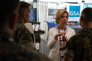 The Honorable Ellen M. Lord, under secretary of defense for acquisition and sustainment, meets with Marine Corps Forces Special Operations Command representatives during the 2018 Special Operations Forces Industry Conference in downtown Tampa, Fla., May 23, 2018. The Special Operations Forces Industry Conference is the premiere conference for the SOF community to interact with vendors and to collaborate on delivering new technology to warfighters. (Photo by U.S. Air Force Master Sgt. Barry Loo)