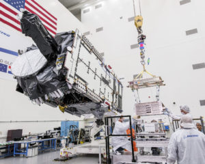 A communications satellite is manufactured by the Boeing Company. Credit: Boeing