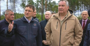 Roscosmos chief Dmitry Rogozin (at right) inspects the Vostochny Cosmodrome. Credit: Roscosmos