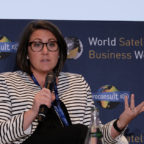 Amanda Fish, Delta Airlines onboard products general manager, speaking on a panel at the World Satellite Business Week conference in Paris in September 2018. Credit: SpaceNews/Brian Berger