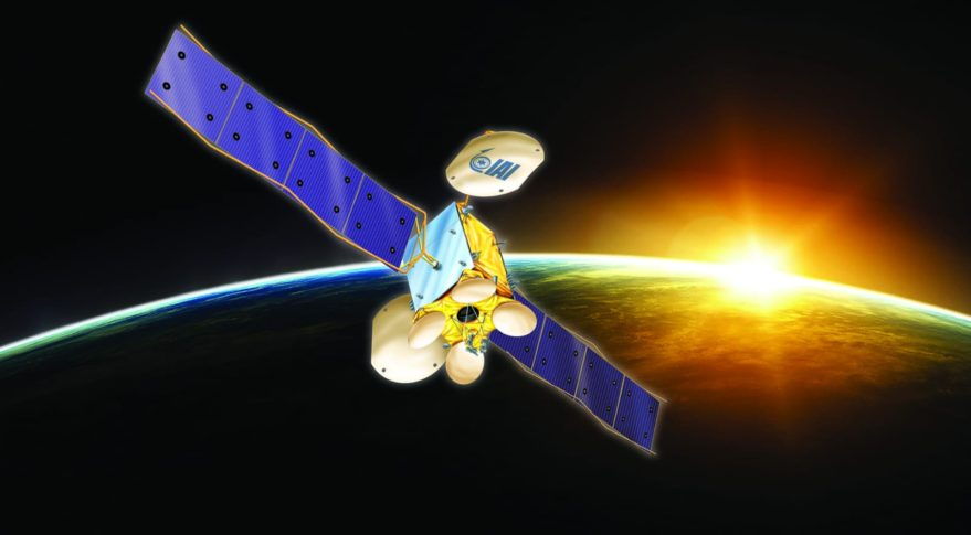Israel's Ministry of Science and Technology announced Sept. 3 that Amos-8 —a replacement for Spacecom's Amos-6 satellite destroyed during SpaceX Falcon 9's 2016 fueling mishap —will be built in Israel with government support. The announcement was accompanied by this rendering featuring the logo of Israel's only satellite builder, the state-owned Israel Aerospace Industries (IAI). Credit: Israel's Ministry of Science and Technology