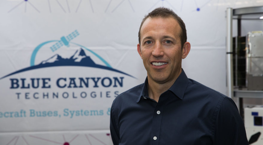 George Stafford, Blue Canyon president and chief executive, at the Small Satellite Conference at Utah State University in Logan, Utah Aug. 7, 2018. Credit: SpaceNews/Keith Johnson