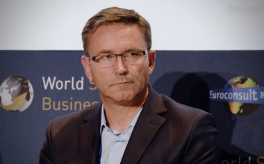 Eric Béranger relinquished his role as chief executive of OneWeb last week, splitting responsibilities with the company's new CEO Adrian Steckel (SpaceNews/Brian Berger)