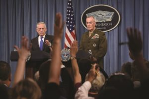 U.S. Defense Secretary Jim Mattis and Marine Corps Gen. Joseph Dunford, the chairman of the Joint Chiefs of Staff, take reporters' questions Aug. 28 at the Pentagon. Credit: DoD photo by Lisa Ferdinando
