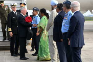"U.S. Defense Secretary is welcomed by Indian Minister of Defense Nirmala Sitharaman to New Delhi on Sept. 5. Mattis is in New Delhi for the first-ever U.S.-India ""2+2"" ministerial dialogue, in which Mattis and U.S. Secretary of State Michael Pompeo will meet with their Indian counterparts. (DoD photo by Lisa Ferdinando)"