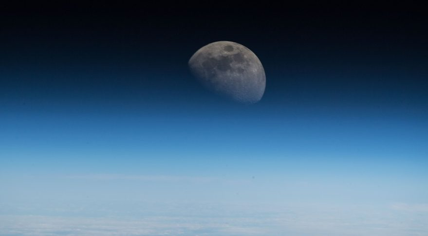 Moon from space station Alexander Gerst