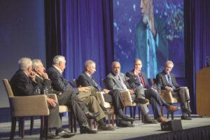 Current NASA Administrator Jim Bridenstine shares the stage with five of his predecessors: Dick Truly, Dan Goldin, Sean O'Keefe, Mike Griffin and Charlie Bolden. Credit: AIAA