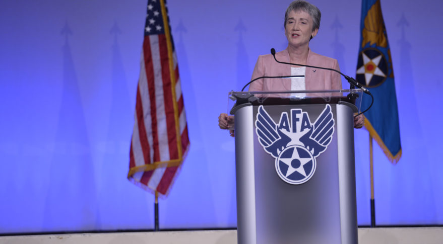 Secretary of the Air Force Heather Wilson speaks at the Air Force Assocation's Air Space Cyber symposium Sept. 17. Credit: U.S. Air Force