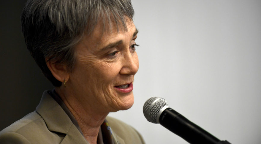 Secretary of the Air Force Heather Wilson speaks prior to signing a Letter of Intent with the National Science Foundation in Washington, D.C., May 9, 2018. The Letter of Intent initiates a strategic partnership focused on research in four areas of common interest: space operations and geosciences, advanced material sciences, information and data sciences, and workforce and processes. (U.S. Air Force photo by Staff Sgt. Rusty Frank)
