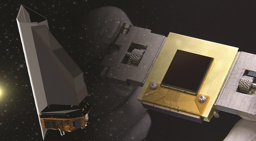 The NEOCam sensor (right) is the lynchpin for the proposed Near Earth Object Camera, or NEOCam, space mission (left) managed by the Jet Propulsion Laboratory.  Credit: Jet Propulsion Laboratory