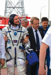 ESA Director General Jan Woerner, right, with ESA astronaut Alexander Gerst at the Baikonur Cosmodrome's launch pad before Gerst's June 6 launch to the International Space Station aboard a Russian Soyuz. Credit: ESA–S. CORVAJA