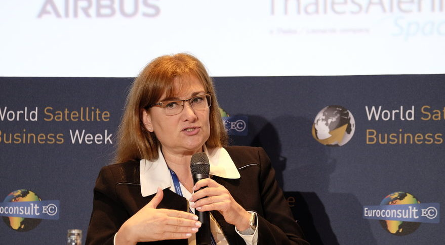 "Carmen Gonzalez-Sanfeliu, ABS chief commercial officer, said at the World Satellite Business Week conference that partnerships with marine cable and fiber operators will be critical for ""their viability and our viability."" Credit: SpaceNews/Brian Berger"
