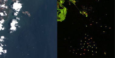 This image compares optical red, green, blue imagery (left) with synthetic aperture radar imagery (right) to demonstrate how data from various sensors on the Descartes Labs platform can be used to detect illegal fishing. Credit: Descartes Labs