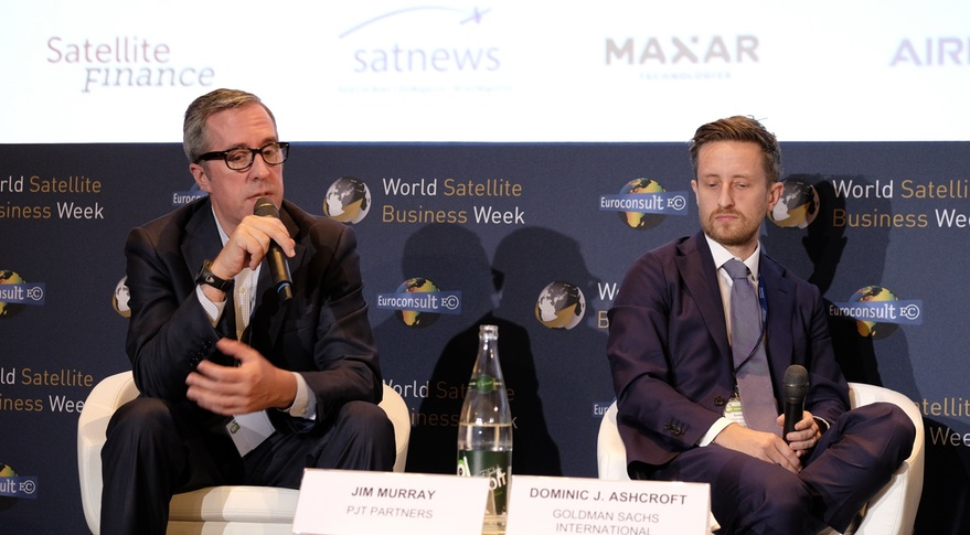 Jim Murray of PJT Partners (left) and Dominic Ashcroft of Goldman Sachs discuss a growing industry shift to smallsats during a panel sessions at World Satellite Business Week Sept. 10. Credit: SpaceNews/Brian Berger