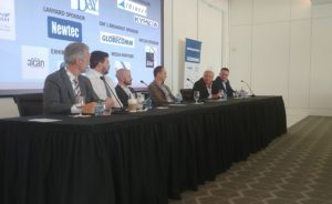 From left to right: Dave Helfgott, CEO of Phasor; John Finney, CEO of Isotropic Systems; Nathan Kundtz, CEO of Kymeta; Esat Sibay, chief financial officer of Alcan Systems; Leslie Klein, CEO of C-Com; and Nir Sharvit, Gilat's director of radio-frequency integrated circuits and antenna technologies. Credit: SpaceNews
