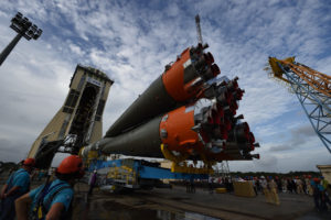 Soyuz VS07, used to launch Europe's Sentinel-1 satellite in 2014 from the European Spaceport in French Guiana. Credit: Credit: ESA–S. Corvaja.