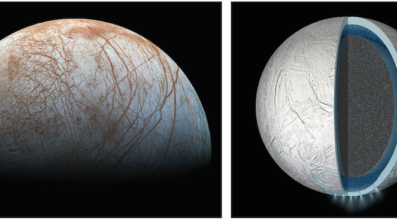 Jupiter's icy moon Europa (above left in a reprocessed color view made by images taken by NASA's Galileo spacecraft in the late 1990) is thought to have a warm ocean shrouded beneath a layer of ice. Saturn's icy moon Enceladus (shown in cross section above right) is also believed to have a liquid ocean between its rocky core and icy crust. Credit: NASA